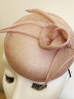 Amelia Dusty Pink Sinamay Button Fascinator by Oana Millinery