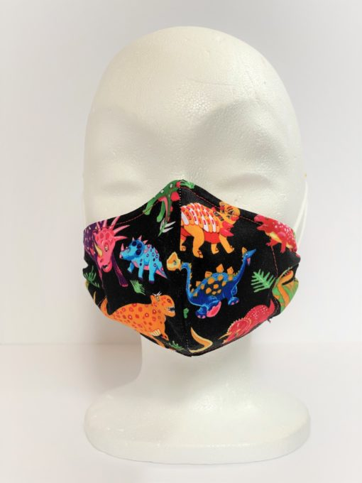 Face Mask Kids Dino Black by Oana Millinery