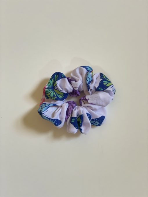 White And Butterflies Scrunchie Oana Millinery