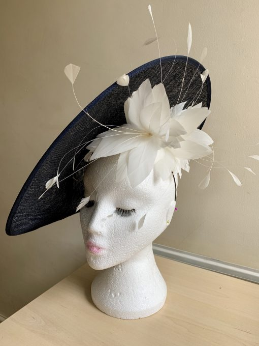 Kate Navy Blue Fascinator with White Feathers Bespoke Hat made by Oana Millinery