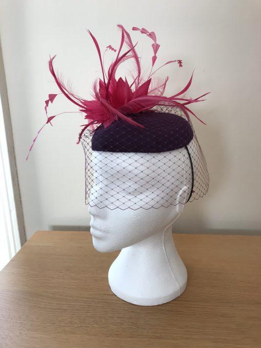 Lilly Purple and Fuchsia Bespoke Fascinator made by Oana Millinery