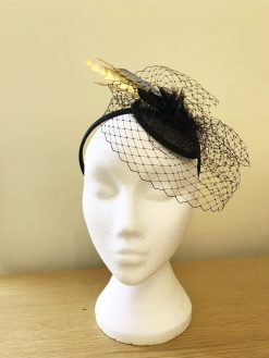 Black Fascinator with veiling and golden feathers
