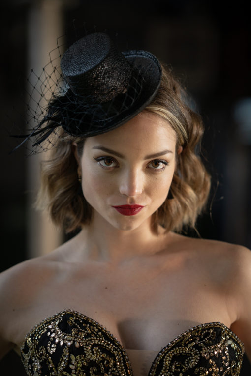Mini Top Hat with Feathers and Veiling
