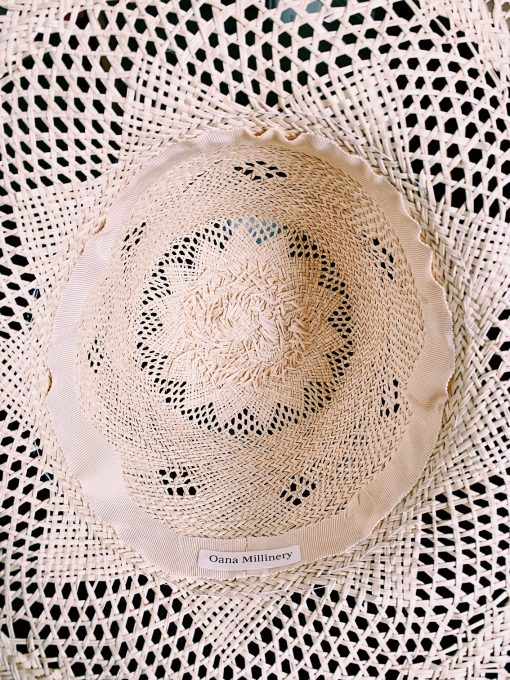 Straw Hat Natural Colour with Petersham Ribbon Bespoke by Oana Millinery